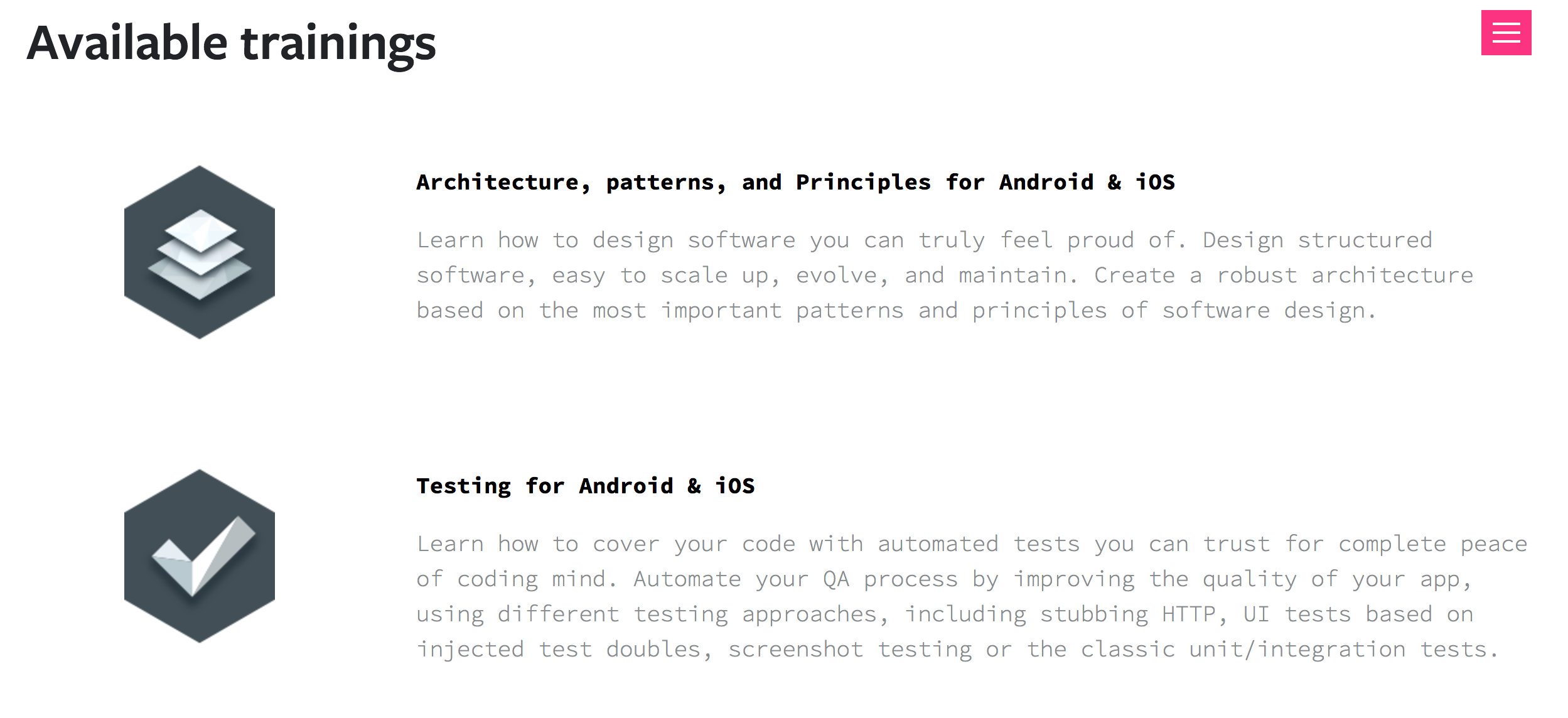 Architecture & Testing Open Trainings 2nd Edition!